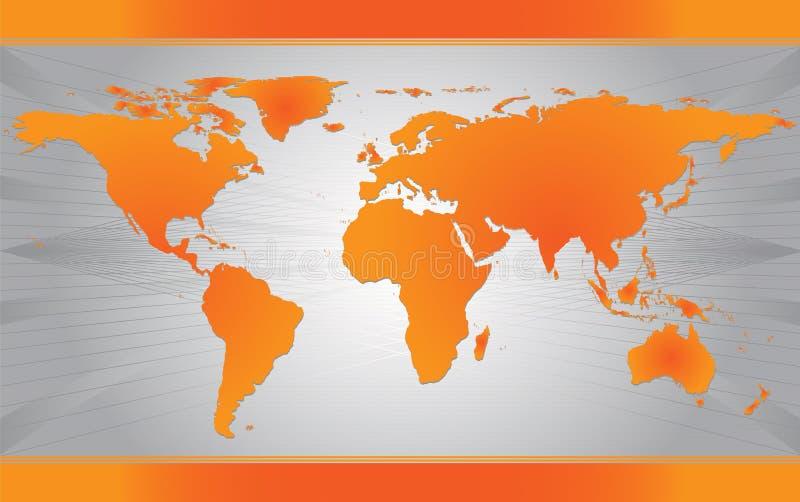 Mapa alaranjado do mundo ilustração stock