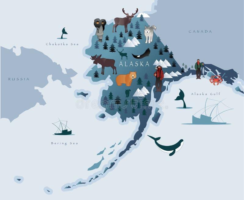 Mapa Alaska z zwierzętami, eskimos, lasami, górami, myśliwymi, łodziami, rybą i rybakami, ilustracji