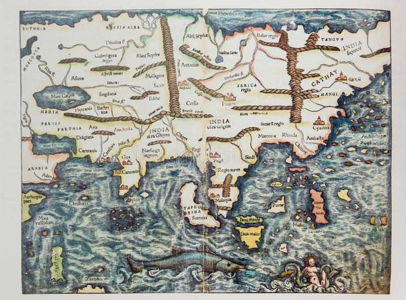 Mapa alemão antigo de Ásia imagem de stock royalty free