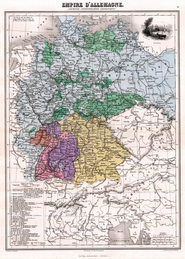 Mapa Alemanha da antiguidade 1870 ilustração stock