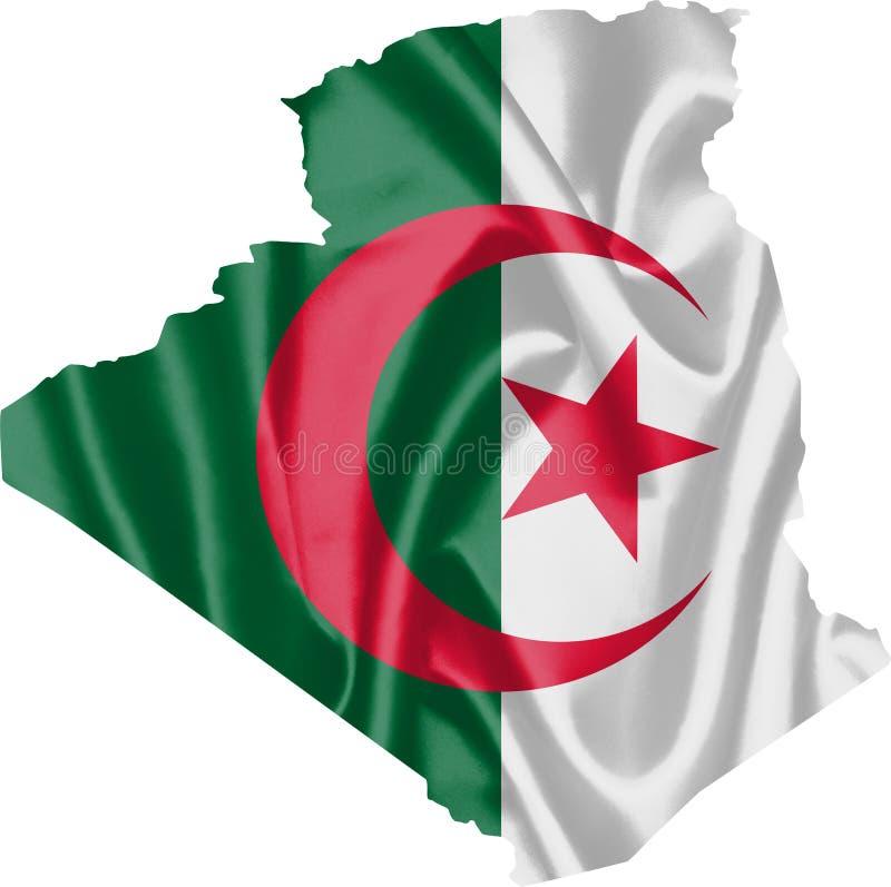 Mapa Algieria z flaga ilustracja wektor