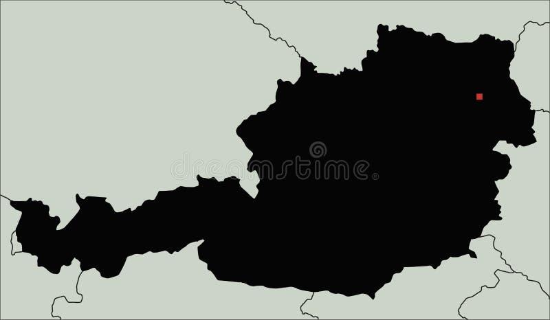 Mapa altamente detallado de la silueta de Austria stock de ilustración