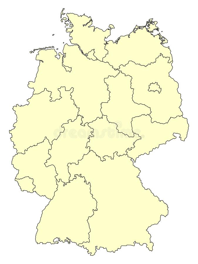 Mapa amarelo de Alemanha com beiras dos estados federais isolados no fundo branco ilustração do vetor