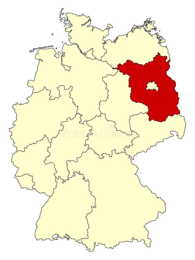 Mapa amarelo de Alemanha com estado federal Brandemburgo isolado no vermelho ilustração stock
