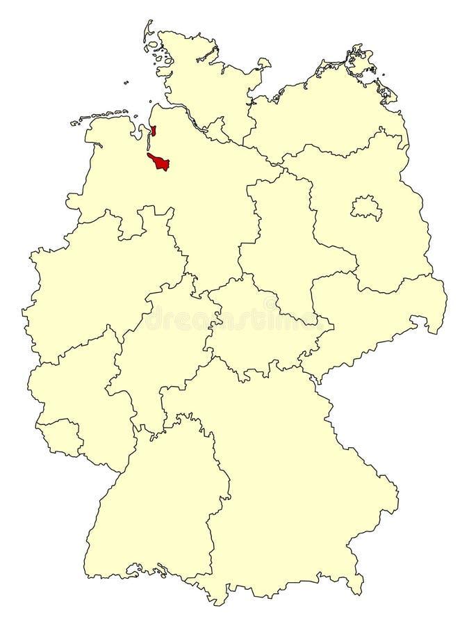Mapa amarelo de Alemanha com estado federal Brema isolada no vermelho ilustração stock