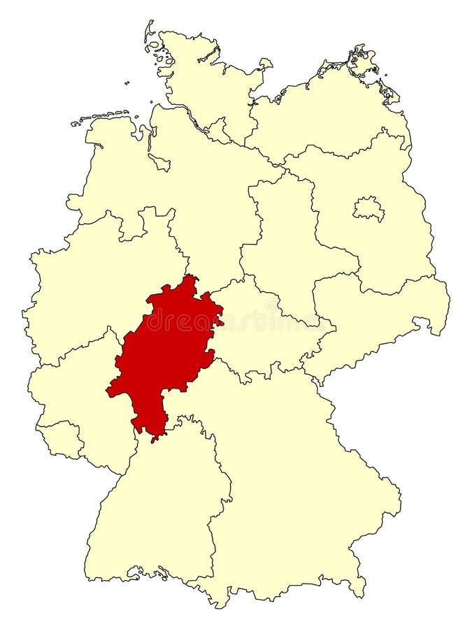Mapa amarelo de Alemanha com estado federal Hesse isolado no vermelho ilustração do vetor