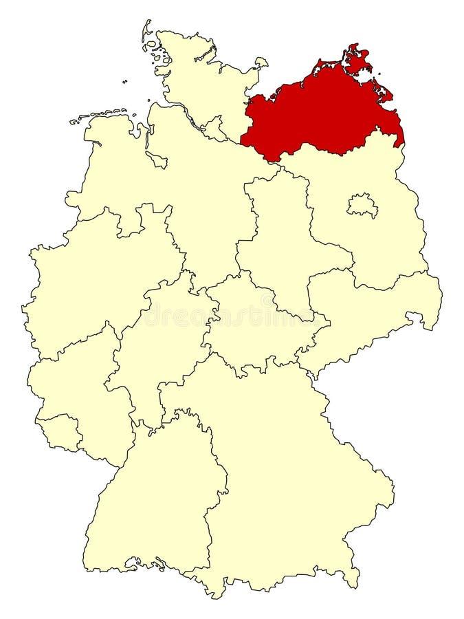 Mapa amarelo de Alemanha com estado federal Meclemburgo-Pomerania isolada no vermelho ilustração do vetor
