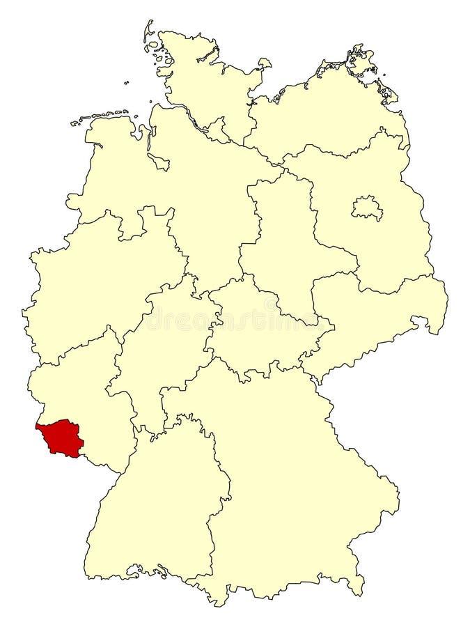 Mapa amarelo de Alemanha com estado federal Saarland isolado no vermelho ilustração do vetor