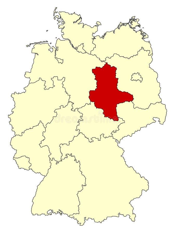 Mapa amarelo de Alemanha com estado federal Saxony-Anhalt isolado no vermelho ilustração stock