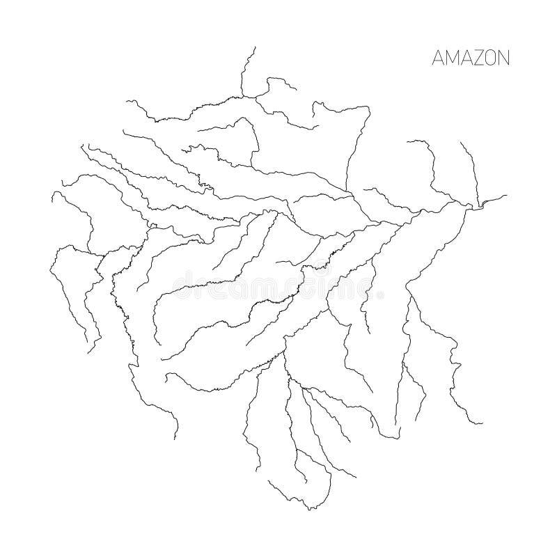 Mapa amazonka rzeczny drenażowy basen Prosty cienieje konturu wektoru ilustrację ilustracja wektor