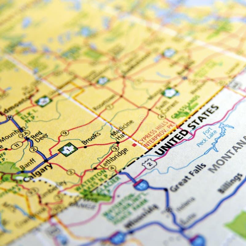 Mapa americano y canadiense de la frontera fotos de archivo libres de regalías
