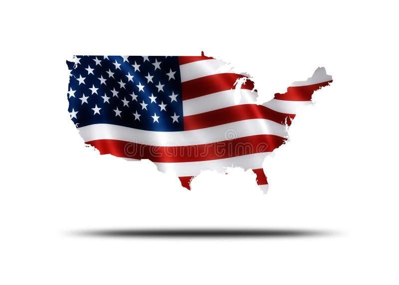 mapa amerykańskiej flagi royalty ilustracja
