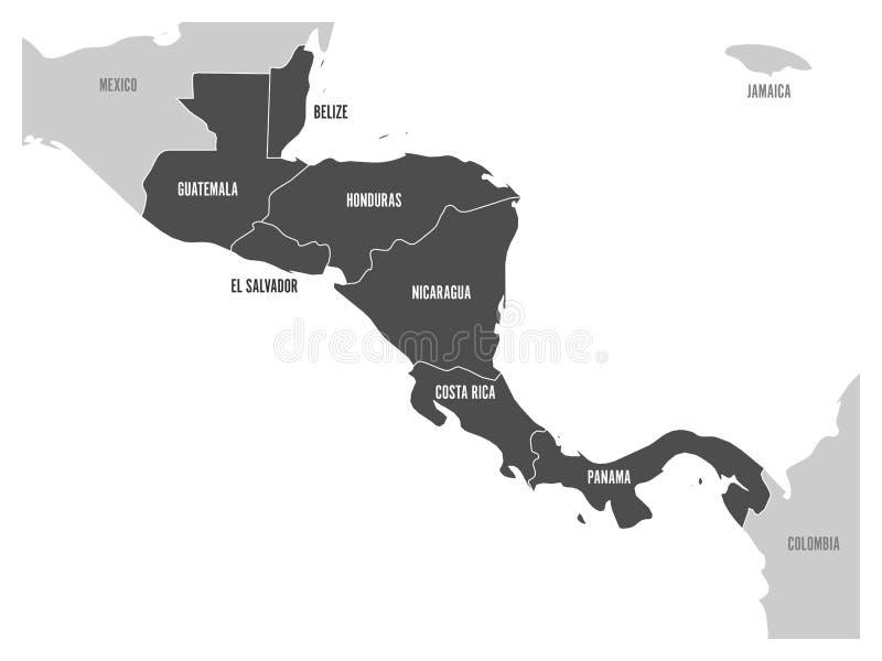Mapa Ameryka Środkowa region z zmrokiem - szarość podkreślali środkowo-amerykański stany Kraju imienia etykietki Prosty mieszkani ilustracja wektor