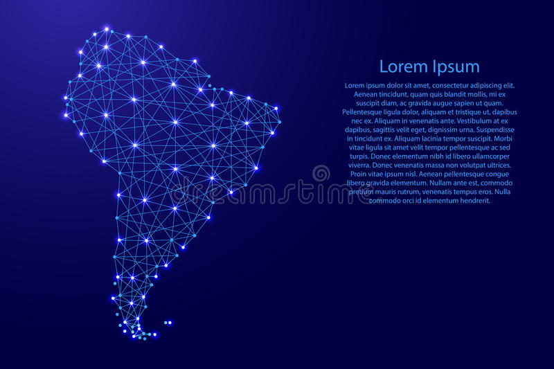 Mapa Ameryka Południowa od poligonalnych niebieskich linii, jarzy się gra główna rolę ilustrację ilustracji