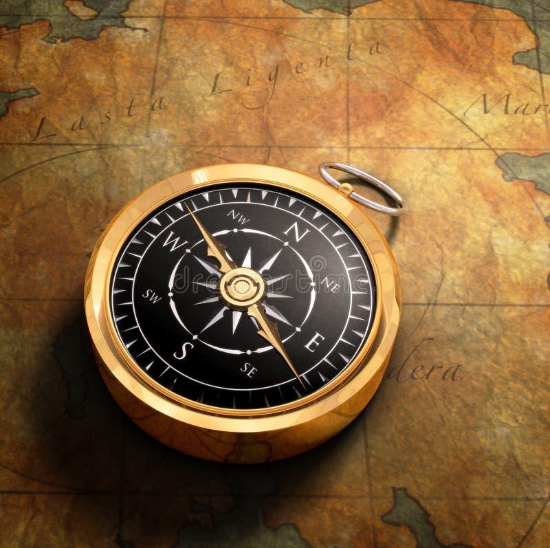 Mapa & compasso foto de stock