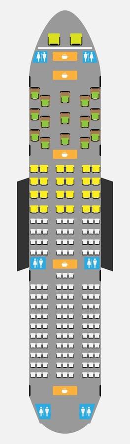 Mapa ancho de Seat de los aviones del cuerpo con el lavabo y la galera libre illustration