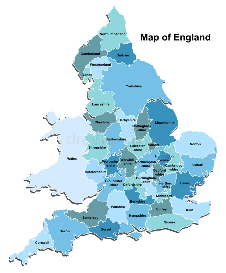 Mapa Anglia royalty ilustracja