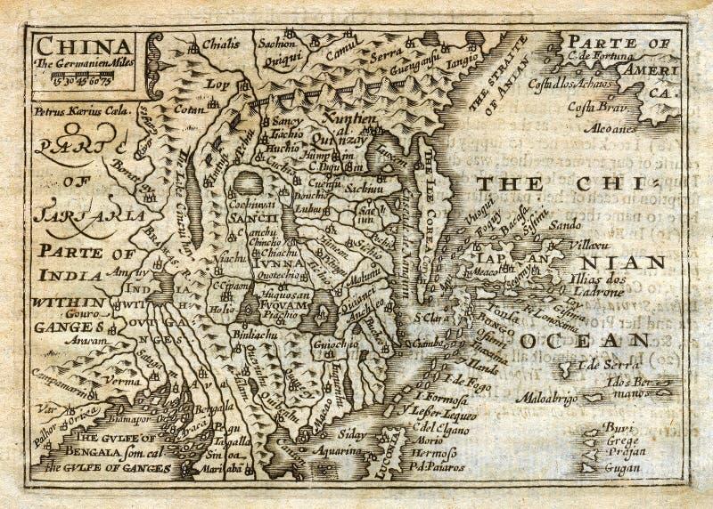 Mapa antigo China Japão Coreia da velocidade 1635 ilustração do vetor