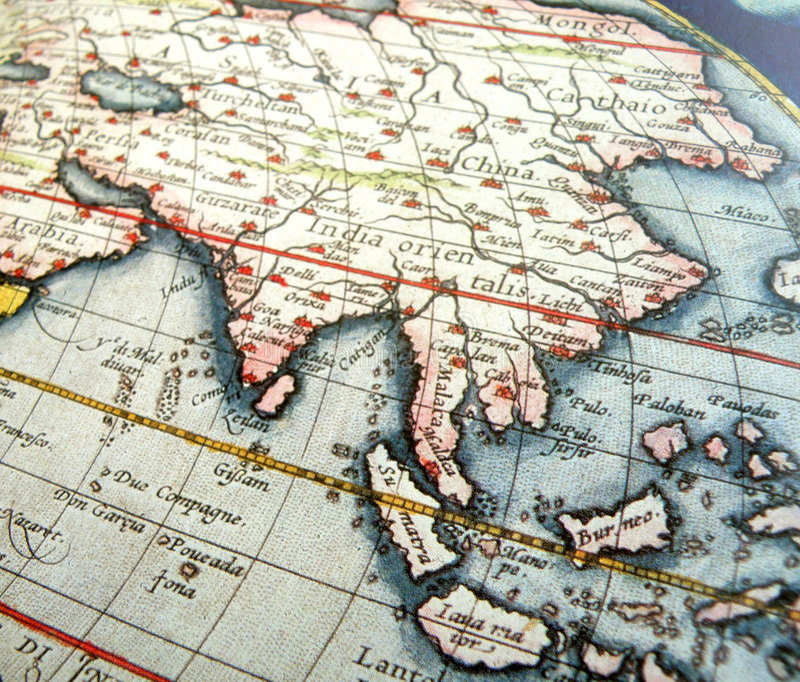 Mapa antigo de Ásia imagem de stock royalty free