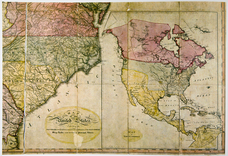 Mapa antigo de Estados Unidos C. 1800 foto de stock royalty free