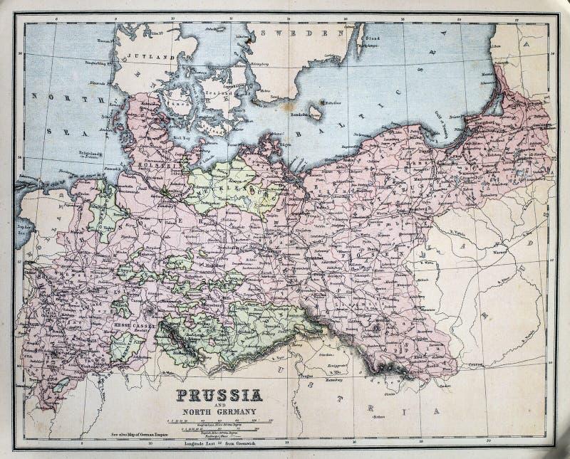 Mapa antigo de Prússia fotos de stock royalty free