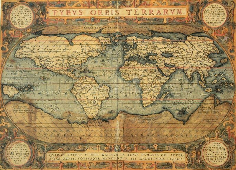 Mapa antigo do mundo imagens de stock