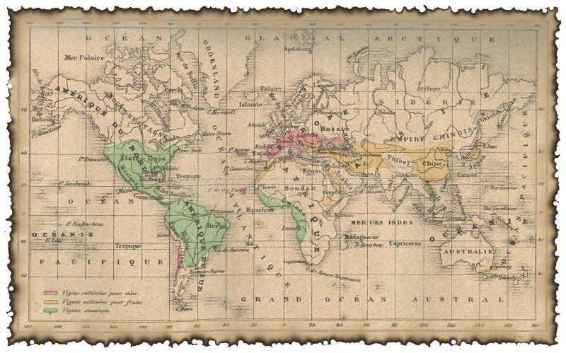 Mapa antigo do mundo ilustração royalty free