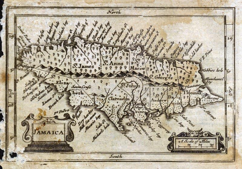 Mapa antigo Jamaica da velocidade de 1635 John ilustração do vetor