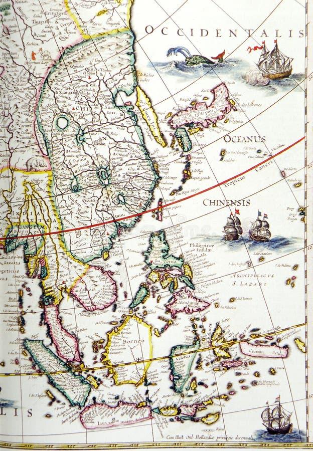 Mapa antigo, região de 3Sudeste Asiático foto de stock