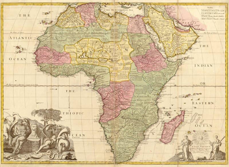 Mapa antiguo de África stock de ilustración