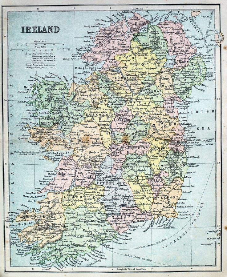 Mapa antiguo de Irlanda fotografía de archivo libre de regalías