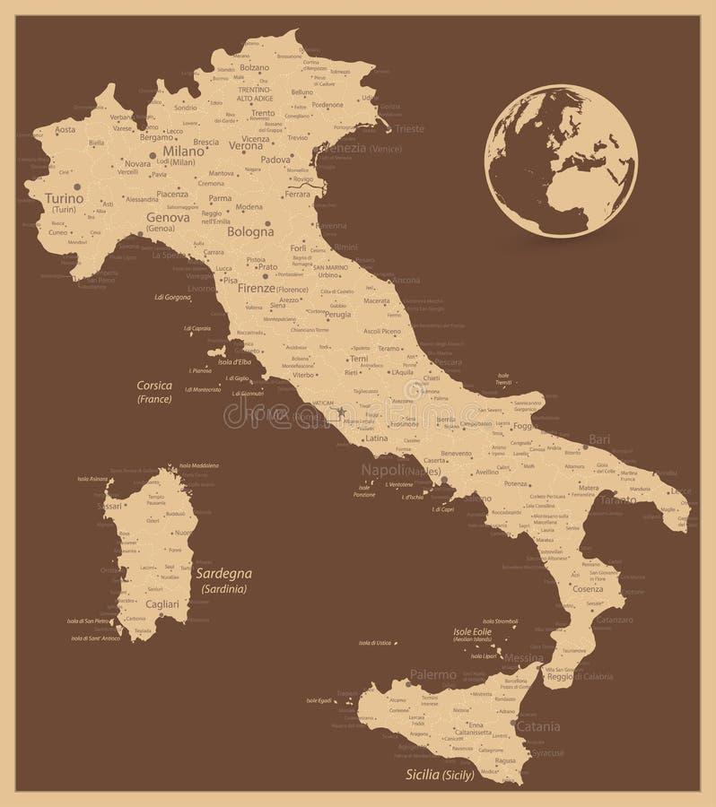 Mapa antiguo de Italia ilustración del vector