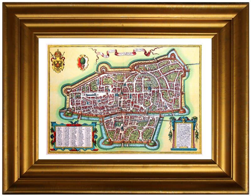 Mapa antiguo de la ciudad en el marco imagen de archivo