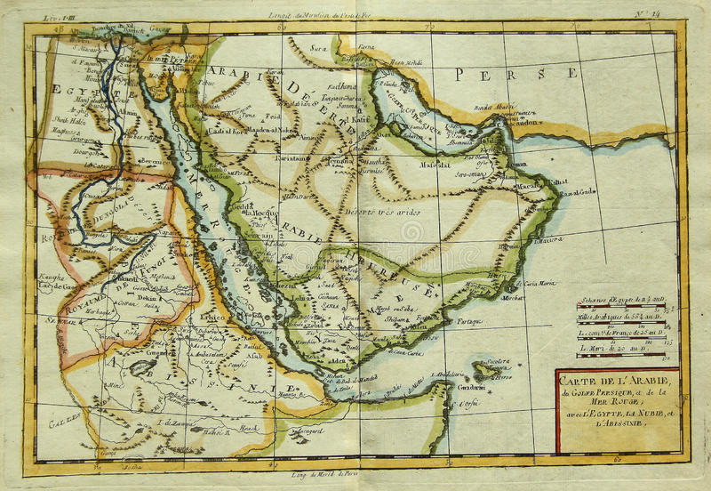 Mapa antiguo de la península árabe y de África del este fotografía de archivo libre de regalías