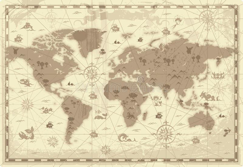mapa antyczny świat royalty ilustracja