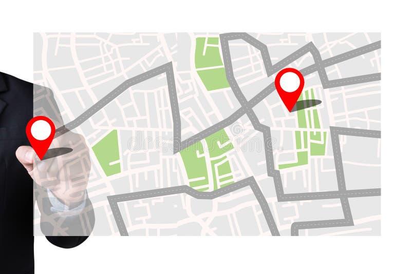 Mapa ao lugar do destino de rota, mapa de ruas de GPS com ícones de GPS imagem de stock royalty free