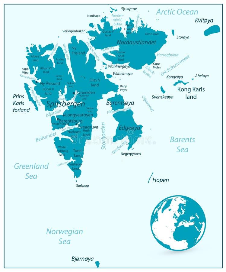 Mapa Aqua Blue Color de Svalbard ilustração do vetor