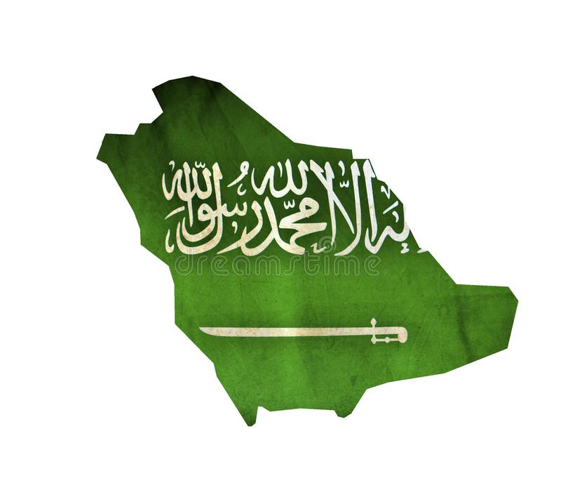 Mapa Arabia Saudyjska odizolowywał fotografia stock