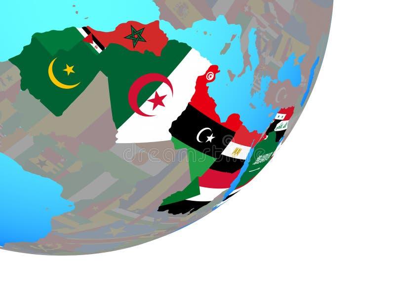 Mapa Arabski liga z flagą na kuli ziemskiej royalty ilustracja