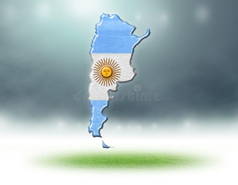 Mapa Argentina projekt z trawy teksturą boisko do piłki nożnej ilustracji