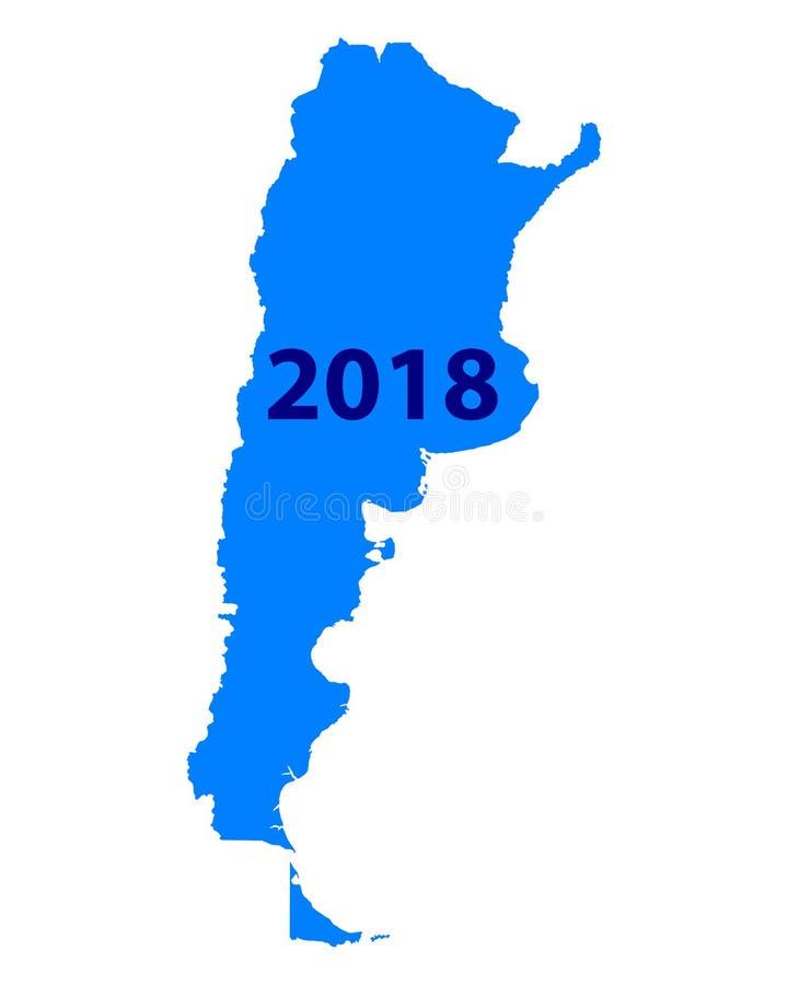 Mapa Argentyna 2018 royalty ilustracja