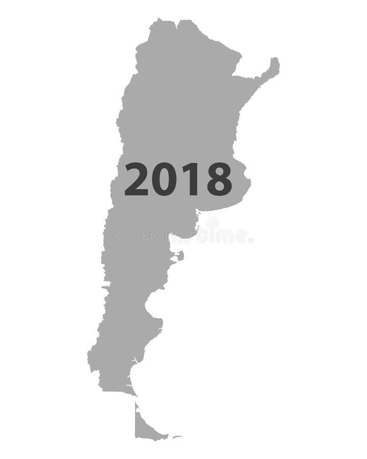 Mapa Argentyna 2018 ilustracja wektor