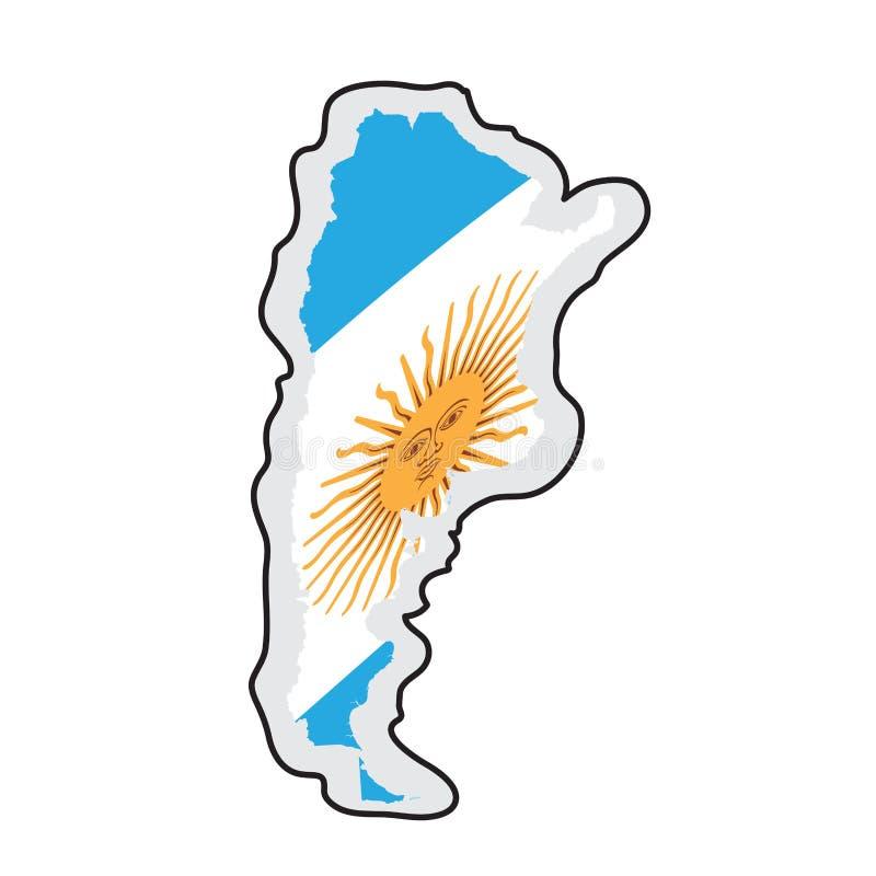 Mapa Argentyna z swój flagą ilustracji
