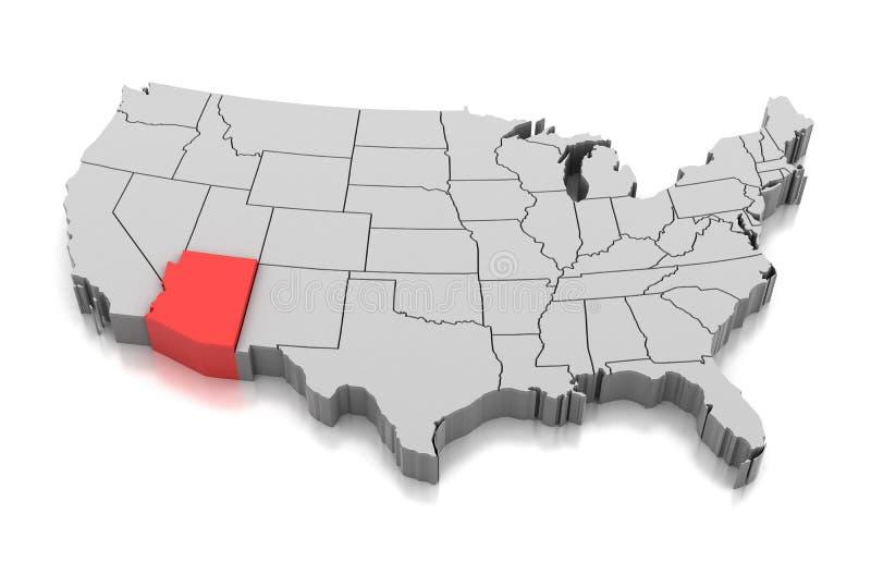 Mapa Arizona stan, usa ilustracji