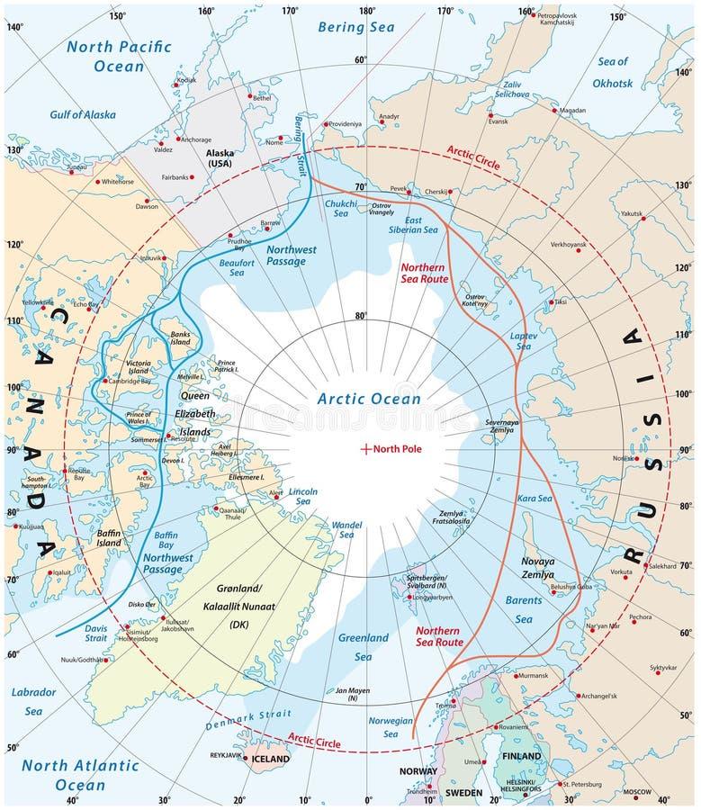 Mapa Arktyczny region północnego zachodu przejście i północna denna trasa, ilustracji