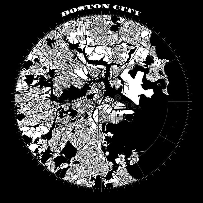 Mapa Artprint del diseño del compás de Boston stock de ilustración