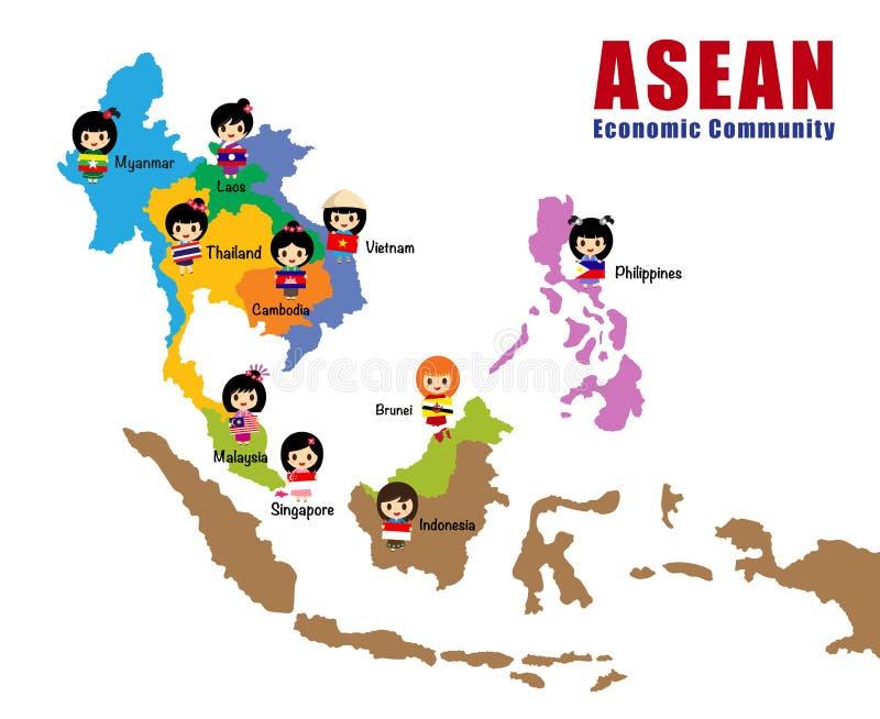 Mapa Asean - AEC royalty ilustracja
