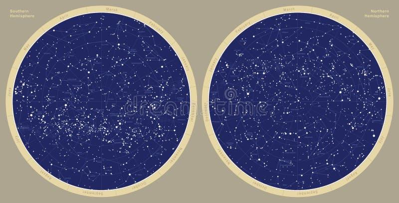 Mapa astronómico de la constelación libre illustration