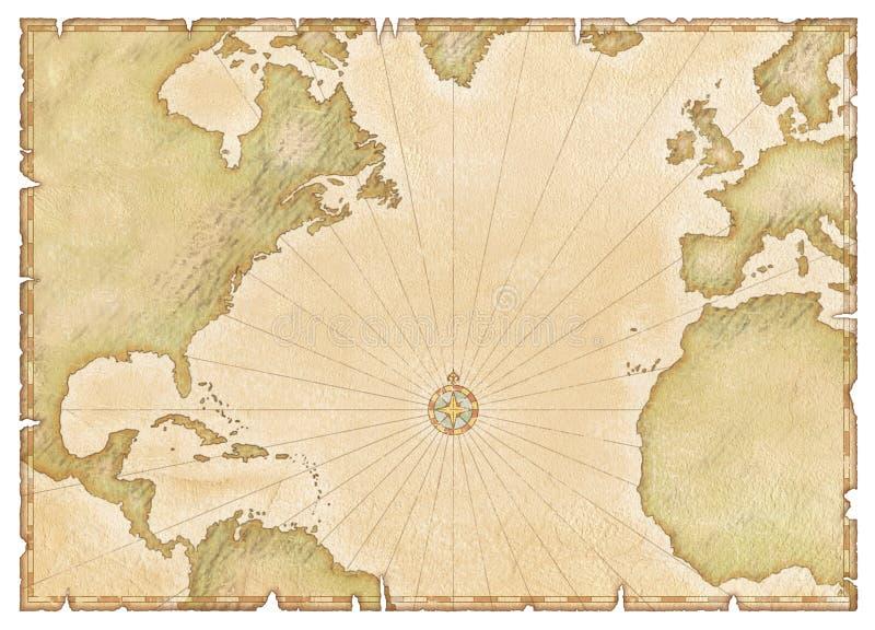 Mapa atlântico velho ilustração do vetor