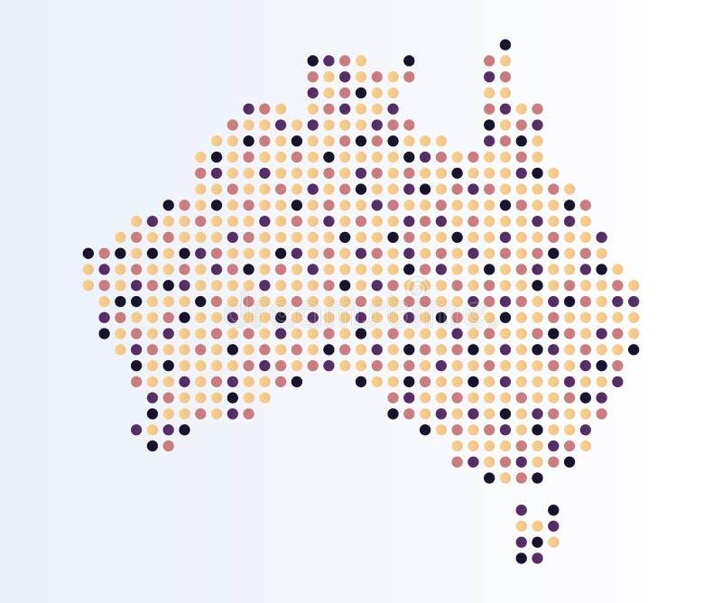 Mapa Australia od barwionych kropek ilustracji